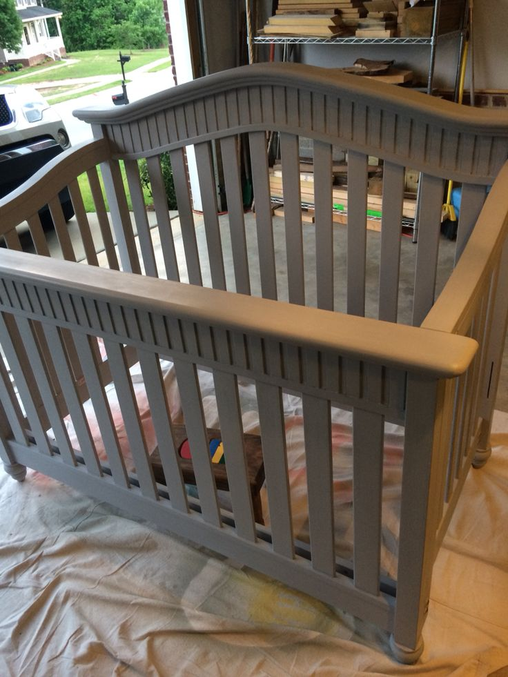 I'm debating whether or not to paint the crib since I have this paint Annie Sloan Chalk Paint Paris Grey Baby Crib