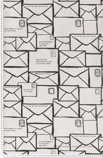 Lettre à un ami noir - Papier peint JC de Castelbajac de Lutèce #letters #wallpaper #blackandwhite http://www.papierspeintsdirect.com/papier-peint.html