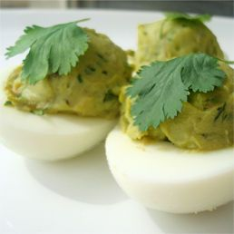 Avocado and Cilantro Deviled Eggs. No mayo, just protein and healthy fat.