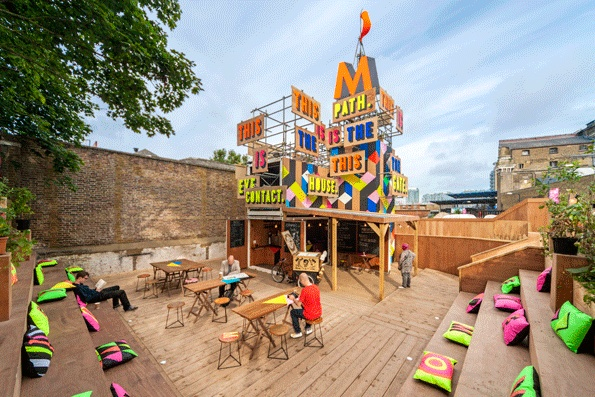 """""""Morag Myerscough and Olympic Poet and prolific tweeter Lemn Sissay with their creative collaboration The Movement Cafe"""""""
