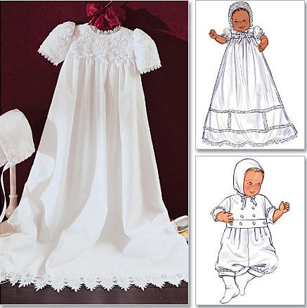 BABY CHRISTENING Sewing Pattern ~ dress jumpsuit hat/bonnet ONLY $4.95
