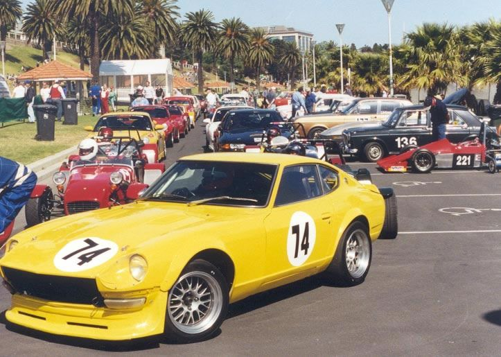 My ex '71 240z some years after the b&w photo elsewhere on this board with new owner Daryl Duff at Geelong Sprints and colour change from metallic brown to yellow