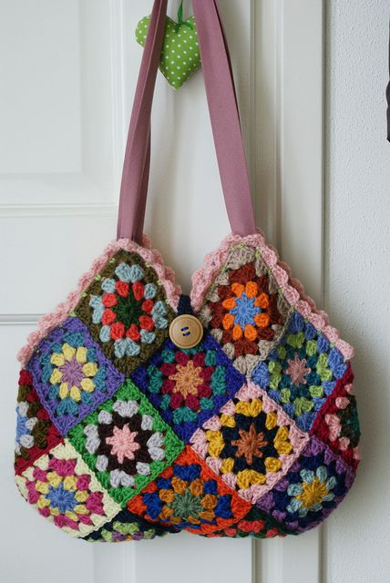 Granny square tote purse...