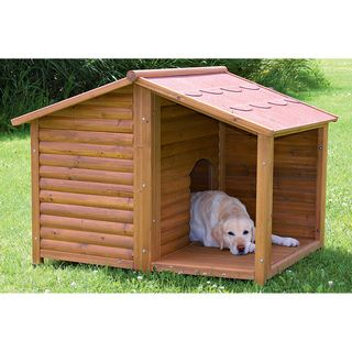 @Overstock - Rustic Dog House (L) - Give your best friend protection from Mother Nature's wrath with this large weatherproof dog house. Made from durable pine, this house features a covered porch to help keep your canine dry, and a removable roof provides easy cleaning access.    http://www.overstock.com/Pet-Supplies/Rustic-Dog-House-L/6133233/product.html?CID=214117  $269.99
