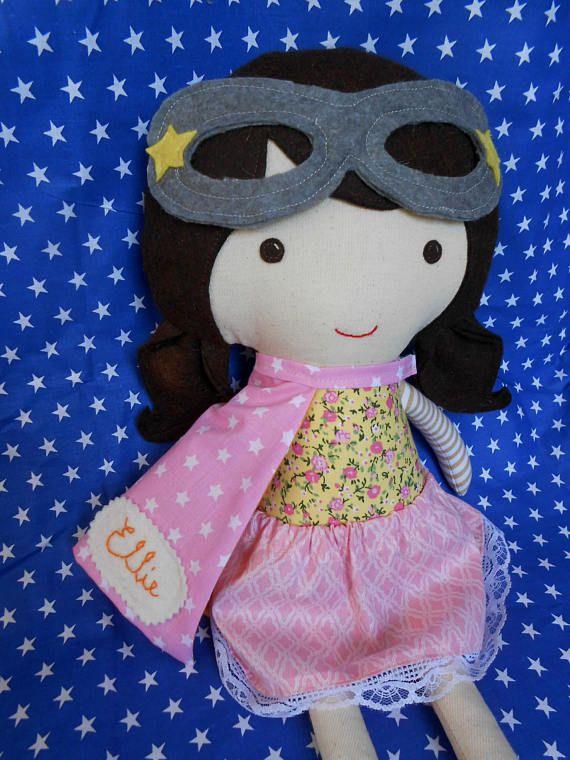 Superhero girl rag doll with supergirl costume birthday gift by La Loba Studio #ragdoll #superhero_party #supergirl #dolls