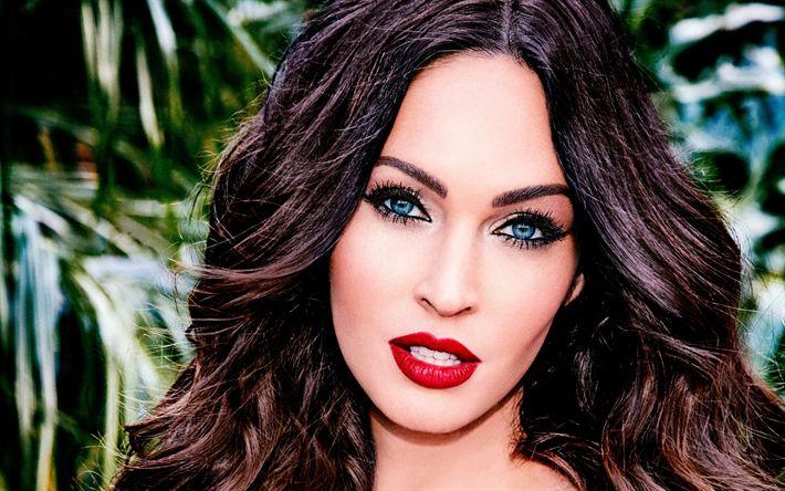 Descargar fondos de pantalla Megan Fox, retrato, sonreír, maquillaje, mujer bella, actriz estadounidense