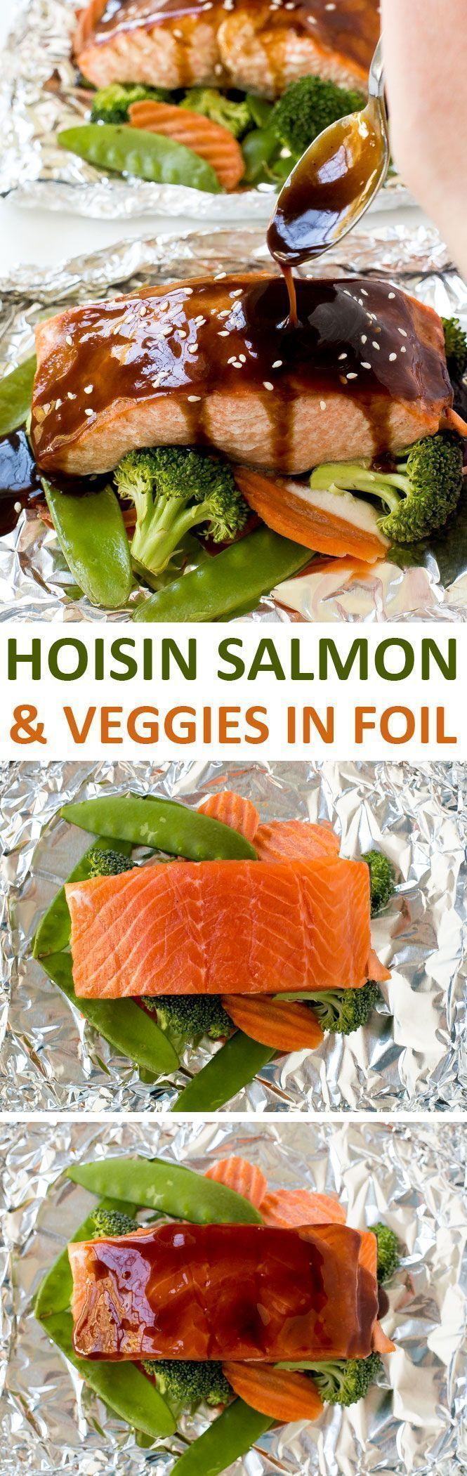 Hoisin Glazed Salmon and Veggies in foil baked to perfection and drizzled with an amazing 3 ingredient hoisin sauce! | chefsavvy.com #recipe #salmon #seafood #hoisin #asian