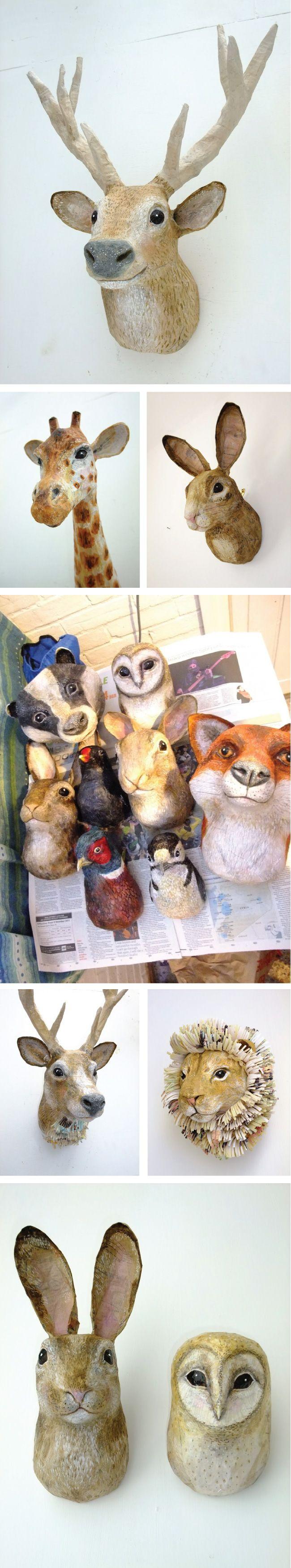 Papier Mache Woodland Creatures by Emily Warren  De belles ambiances à créer !!                                                                                                                                                     More