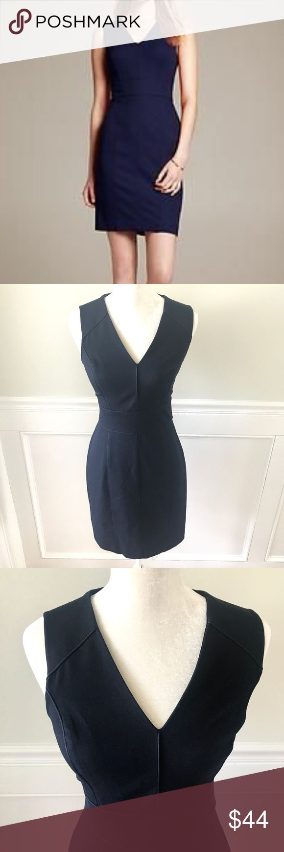 BANANA REPUBLIC Sloan Piped Sheath Dress Navy 2 New without tags (NWOT)- tried on, but never worn. Beautiful Sloan sheath dress from Banana Republic in Preppy Navy.  Well constructed of a thick cotton/rayon/spandex knit that has just a bit of stretch for a flattering fit. Work appropriate v-neck. Banded waist. Piping detail at waist, bust, and skirt. Hidden back zip with hook and eye closure. Timeless, classic dress. Size 2- fits an XS/Extra Small or a Small- please refer to measurements…