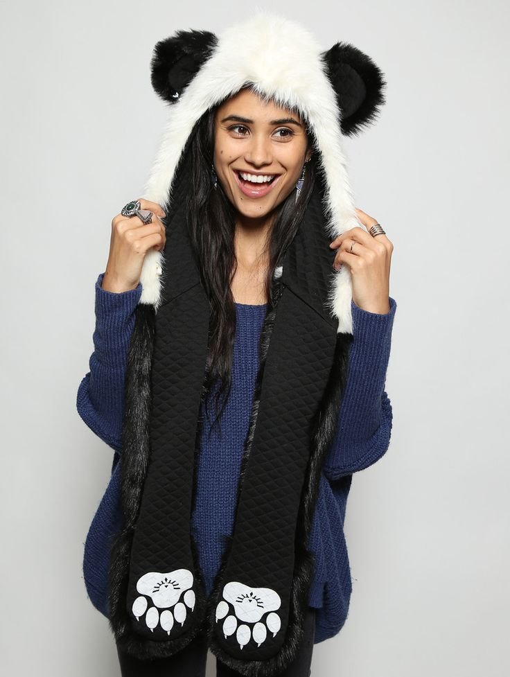 Panda Bear faux fur animal inspired hood (100% Vegan). Unisex (one size fits most).