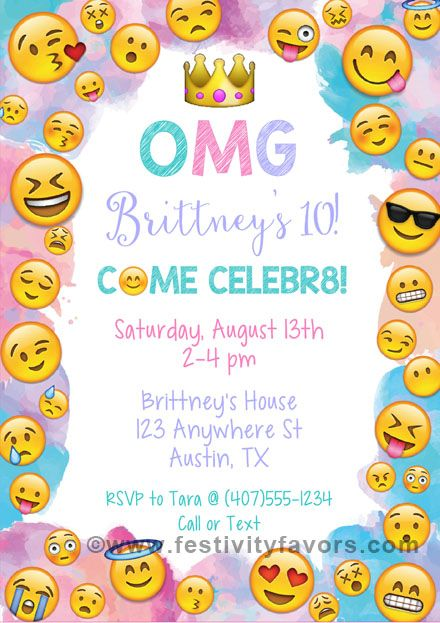 Emoji birthday party invitations. Ideal for an Emojis themed party and can be used for kids of all ages. The finished party invitations are affordable and of outstanding quality!       Envelopes:  White envelopes are included.Sold in sets of:  Sold Individually Card Type:  Flat Card Size:  Approx. 5 x 7