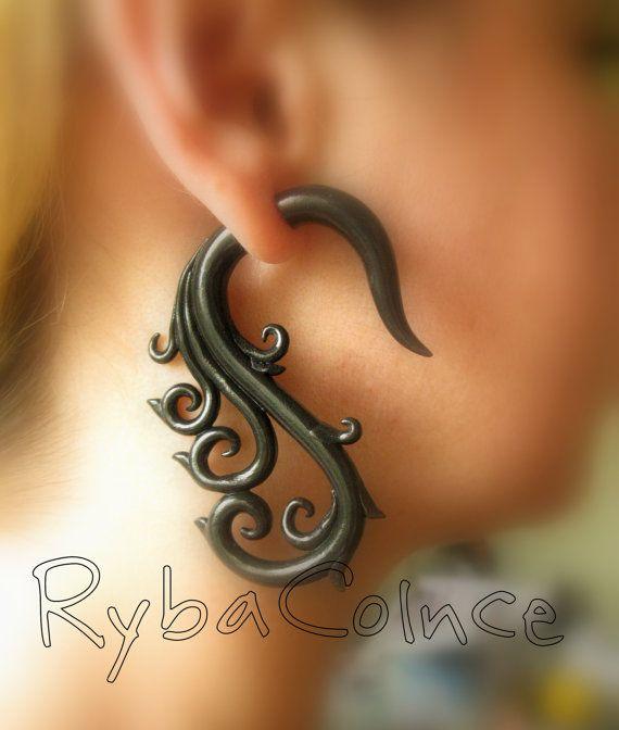 Jauges/jauge de boucles d'oreilles/tentacule fiche/tentacule boucles d'oreilles /spiral jauge de Fake / faux piercing