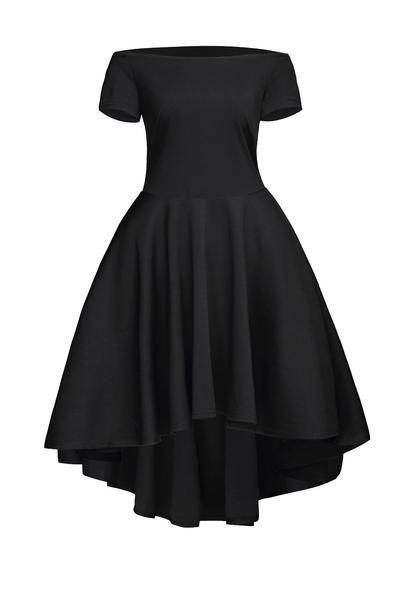 Off The Shoulder Gorgeous Black Elegant Slim Fitting Skater Dress