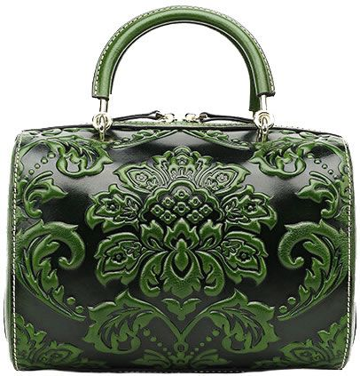 This antique tote bag XDCS905 is made of high-end guaranteed genuine oil leather, embossed with delicate flower patterns, dark green.