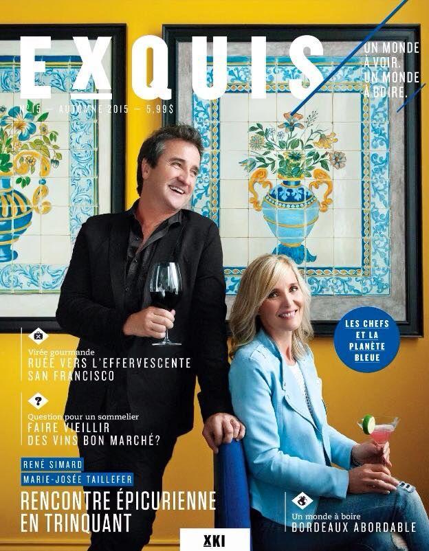 La couverture du numéro d'automne nous fait sourire juste à la regarder : souvenirs d'un moment des plus agréables avec René Simard et Marie-Josée Taillefer au Restaurant Helena. (Exquis, no 15, automne 2015)