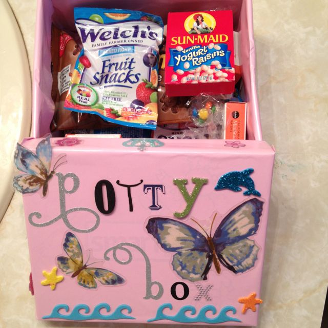 Potty training reward box.  Will make one for Maddox that doesn't look so girlie :)