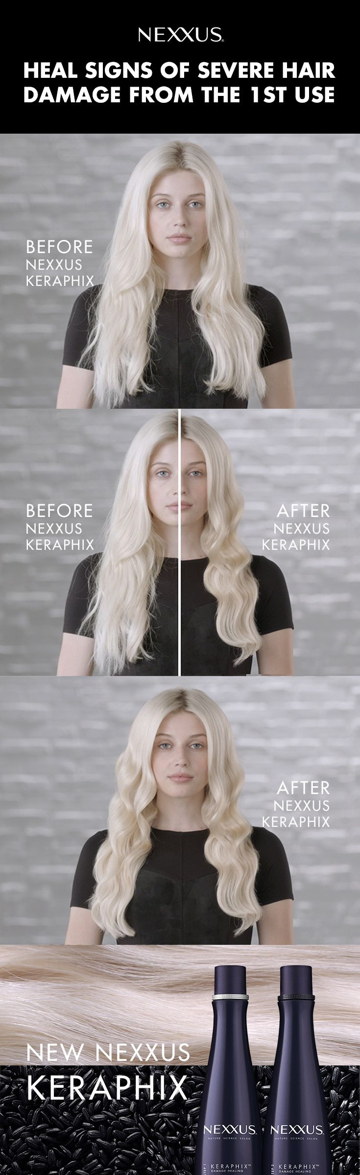 Patience is overrated. Get stronger, smoother hair from day one of using Nexxus Keraphix.