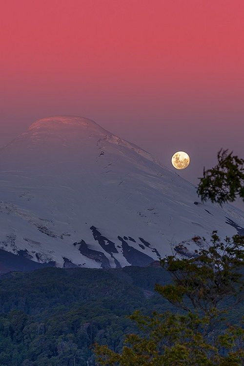 Volcán y Luna…Patagonia, Chile, Volcan Osorno, by Francisco Negroni, on 500px.