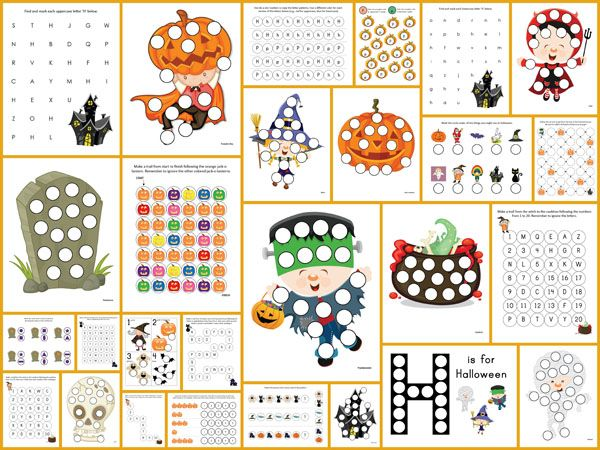 Halloween Do-a-Dot Printables: 27 pages of Halloween do-a-dot worksheets to help kids work on one-to-one correspondence, shapes, colors, patterning, letters, and numbers. #Halloween #DoADot #freeprintables || Gift of Curiosity