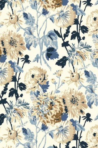 Floral Wallpaper Navy Blue Tan White T4133 Pretty