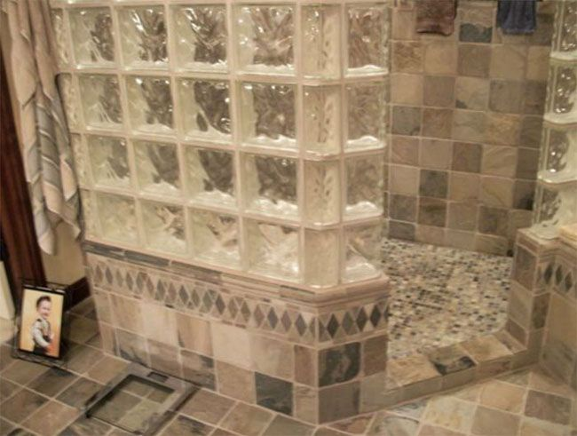 bathrooms with glass block - Google Search
