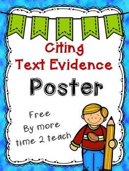 Great sentence stems here for citing text evidence; poster format with a half sheet version to go in student notebooks.  {Freebie}