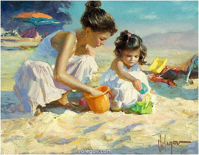 Vladimir Volegov Paintings Gallery | 77. CHILDREN ON THE BEACH, painting, 100x100 cm, oil on canvas