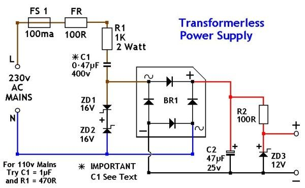 Transformerless Power Supply 12v Power Supply Design Power Supply Circuit Electronic Circuit Projects