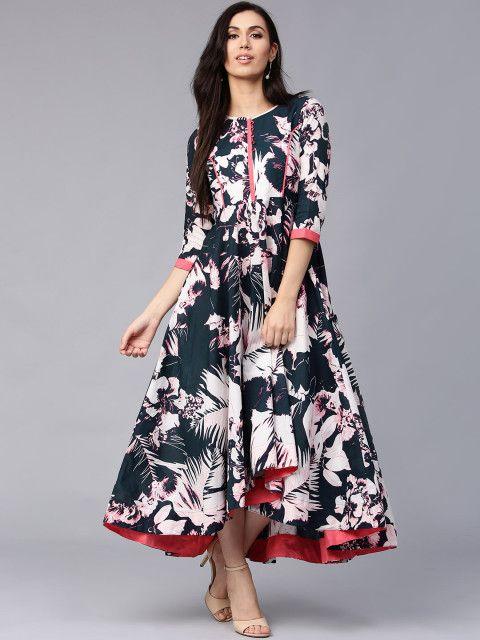 319a65750509e Buy Rain   Rainbow Women Navy Blue Printed Maxi Dress - Dresses for Women  1996368
