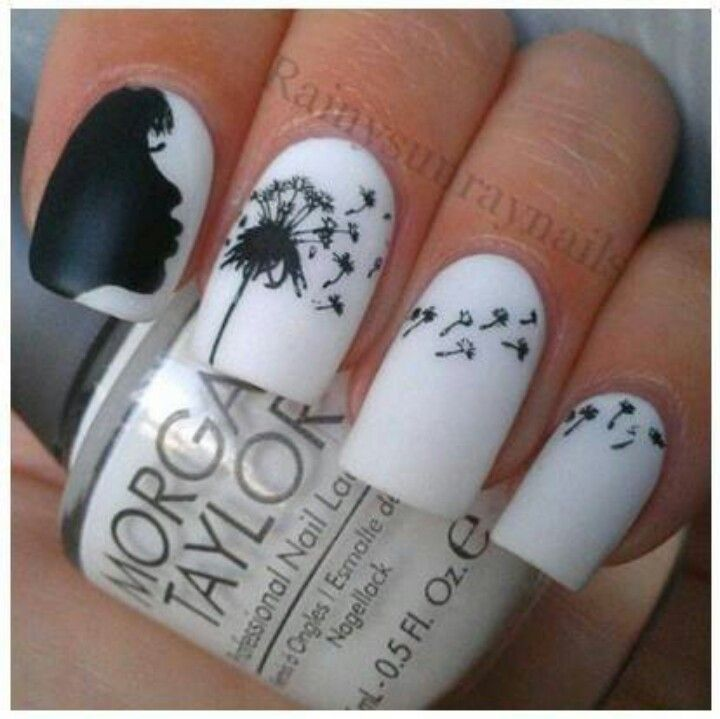 white black nails art design