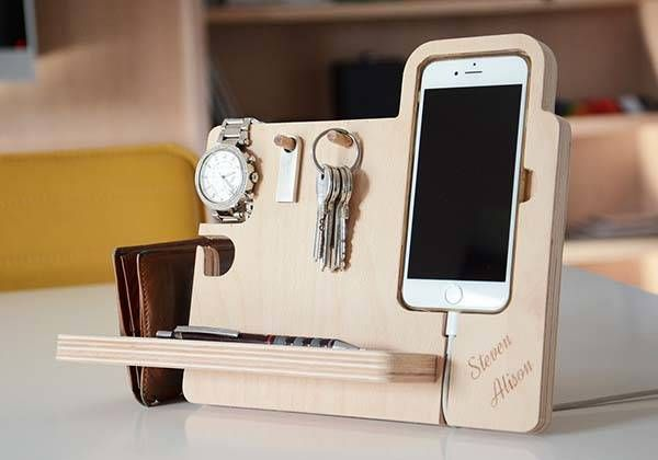 The Handmade Desk Organizer Boasts Integrated Watch Stand, iPhone Dock, Key Holder and More