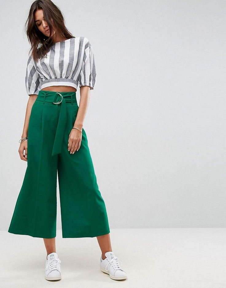 ASOS Clean Culotte with Oversized D Ring Detail Belt - Green