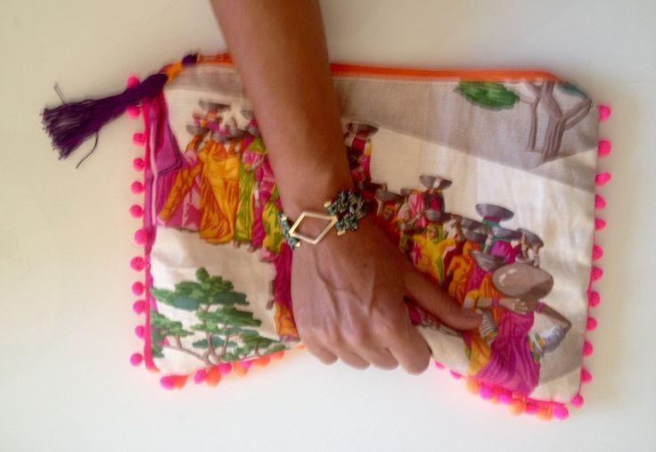 Sari linen clutch.