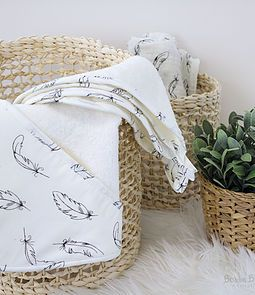 Organic Feathers Baby Hooded Towel and Facewashers from Bubba Blue