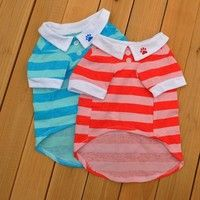 Wish | Comfortable and Hot Cute Dog T-Shirt Clothes Lapel Stripe Cotton Puppy Pet Dog Clothes