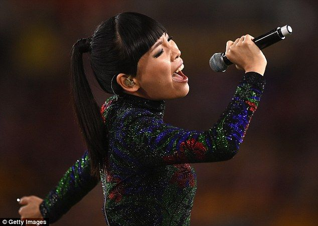 A star performance! Eurovision runner-up Dami Im cuts a stylish figure for her rocking pre-game show ahead of the Brisbane Broncos vs Sydney Roosters match in Brisbane  #eurovision #eurovision2016  ##eurovisionbettingodds  http://www.casinosolutionpro.com/eurovision-betting-odds