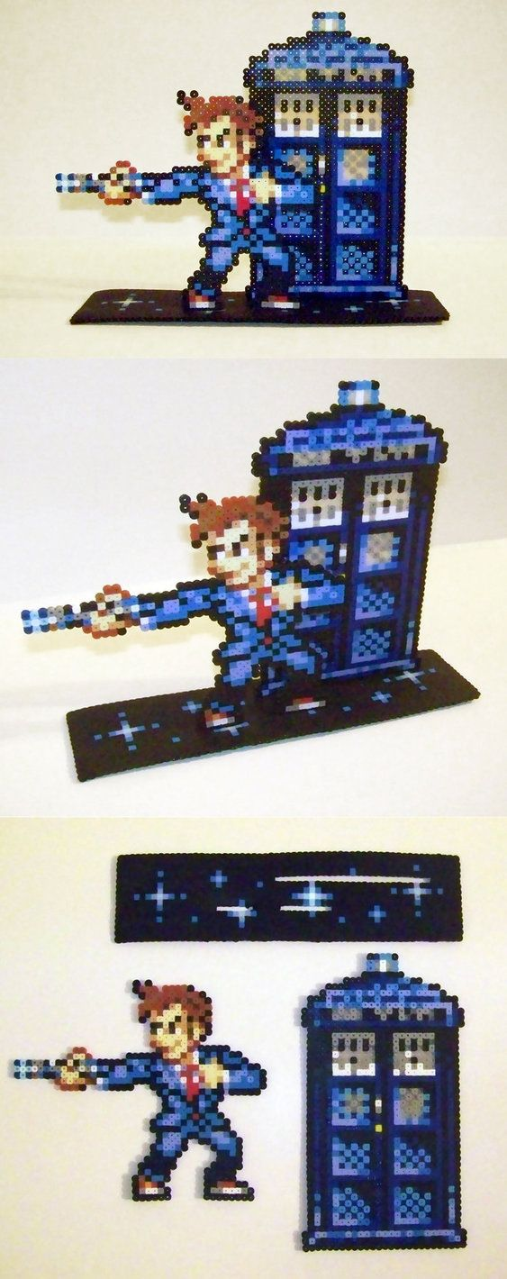Perler Bead 10th Doctor and Tardis with Stand by NerdyNoodleLabs on deviantART