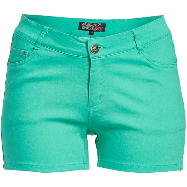 1826 Jeans Aqua Mint Twill Shorts ($15) ❤ liked on Polyvore featuring shorts, plus size, plus size shorts, slim shorts, mint green shorts, aqua shorts and womens plus size shorts