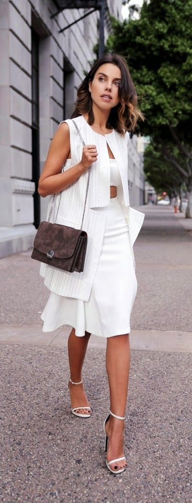 Classic New look Vest , Flare Skirt and Ankle Strap Heels
