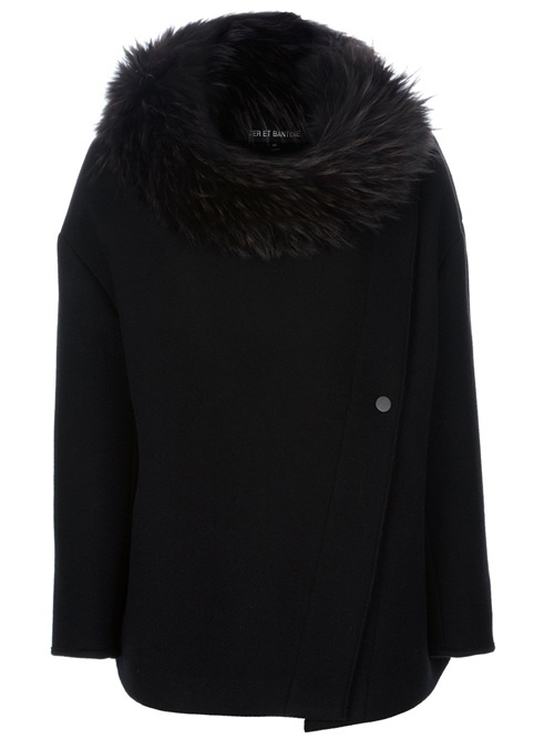 Black wool and cotton blend swing coat from Ter et Bantine featuring a wide round neck with detachable fur collar, long sleeves, a double button fastening at the neck, an asymmetric front button fastening and a short length.
