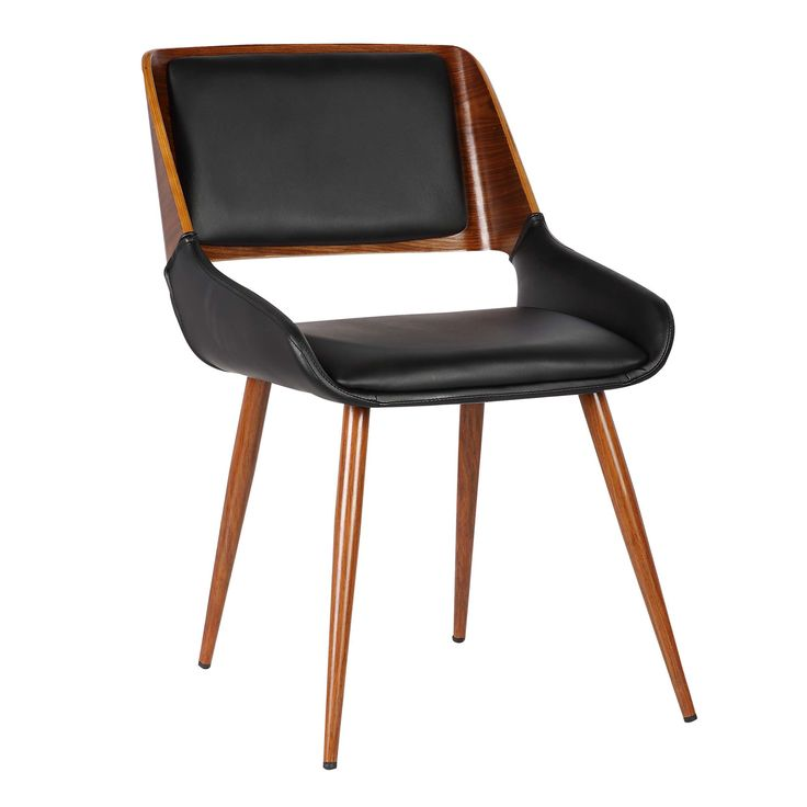 Armen Living Panda Mid-Century Dining Chair in Walnut Finish and Black Pu