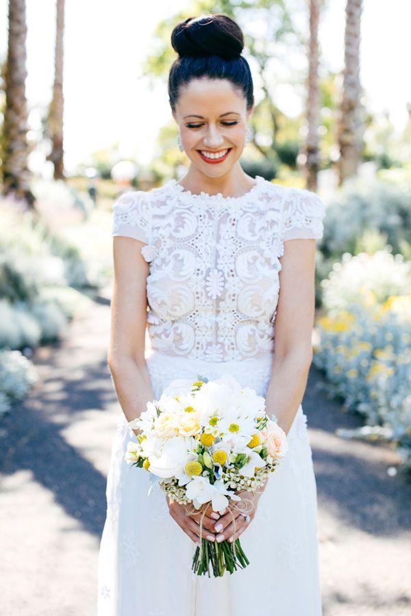 Collette Dinnigan lasercut wedding gown, photo by Love Katie + Sarah http://ruffledblog.com/bellarine-peninsula-wedding #weddingdress #gown #bride
