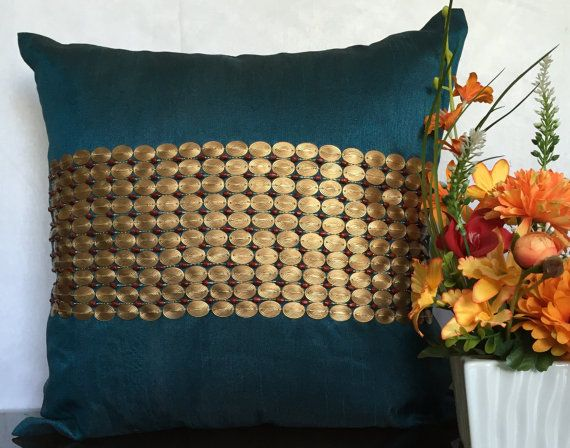 Teal pillow embroidered with  textured by TheWhitePetalsDecor