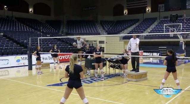 Digging drill for defending middle attacks