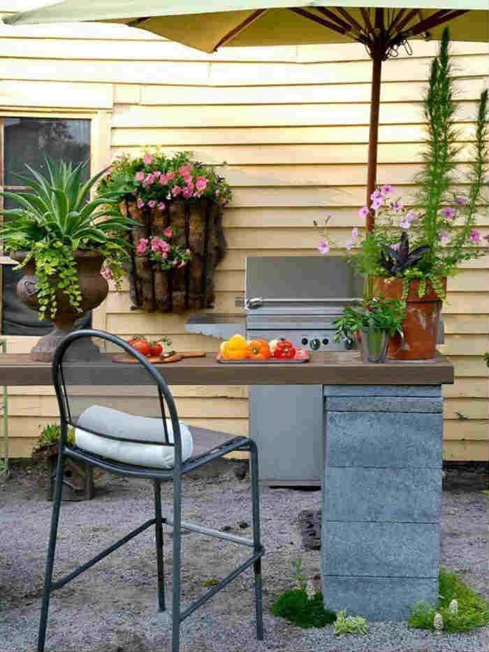 cinder block outdoor kitchen counter
