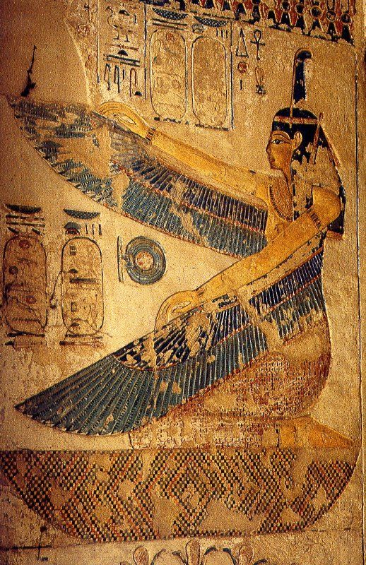 """Ma'at, the Winged Egyptian Goddess of Truth, Justice and Harmony"" 19th Dynasty. Tomb of pharaoh Siptah (reign as a child 1197 – 1191 BC). Valley of the Kings. Western Thebes...."