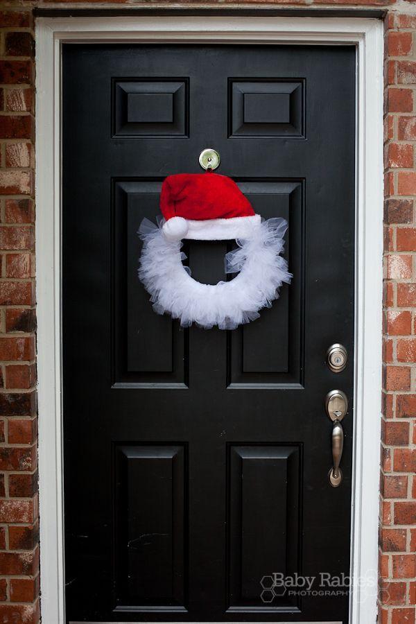 Santa Hat Wreath with Deco Mesh or Organza/Tulle