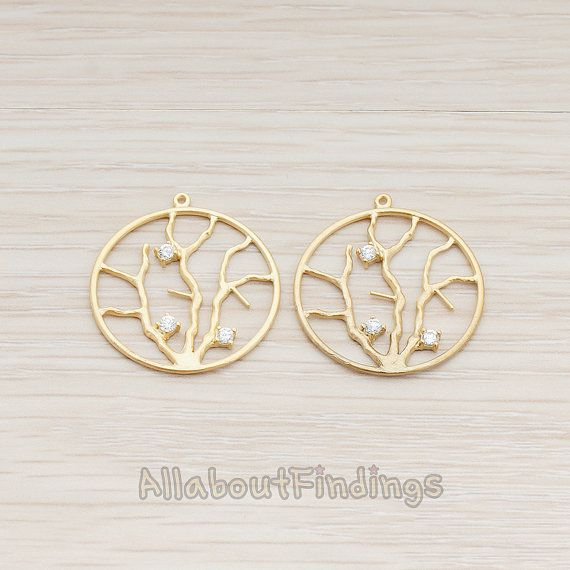 PDT670-MG // Matte Gold Plated Round Branch by AllaboutFindings