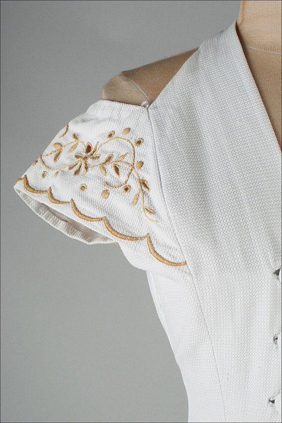 vintage 1950s dress . white cotton . bare by millstreetvintage