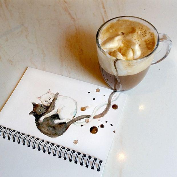 A aquarela de Elena Efremova e sua arte com gatos e cafés